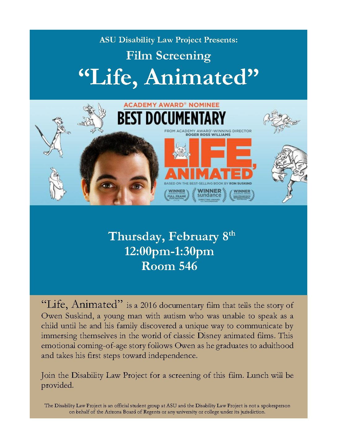 Thursday, 2/8 — Film Screening and Pizza at Lunch, Room 546