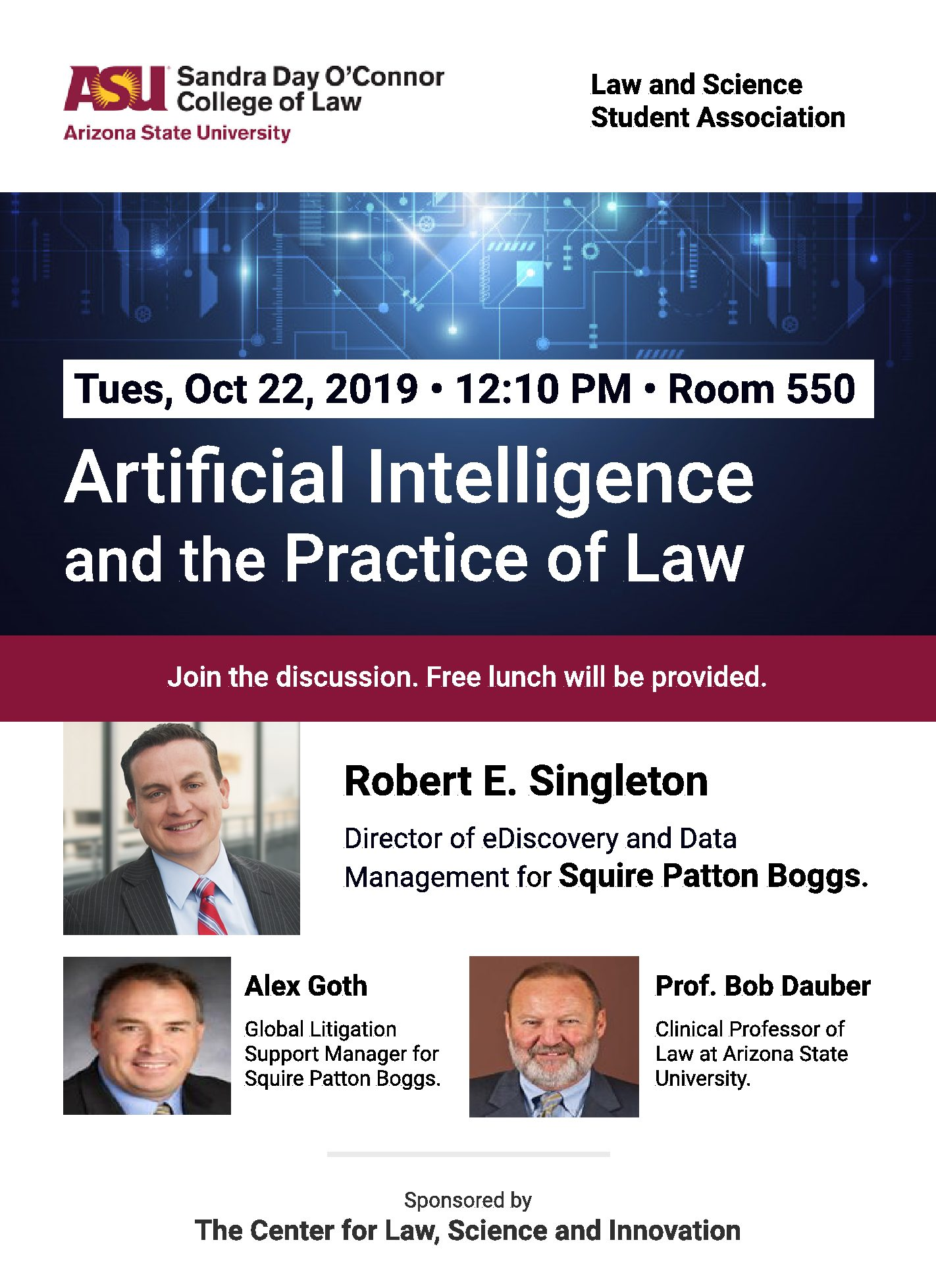 AI and the Practice of Law Lunch Discussion, Tues., Oct. 22nd, RM 550, by LASSA and LSI